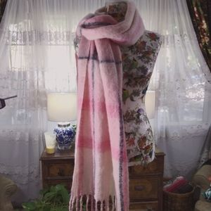 H&M Pink and White Plaid Wrap Scarf
